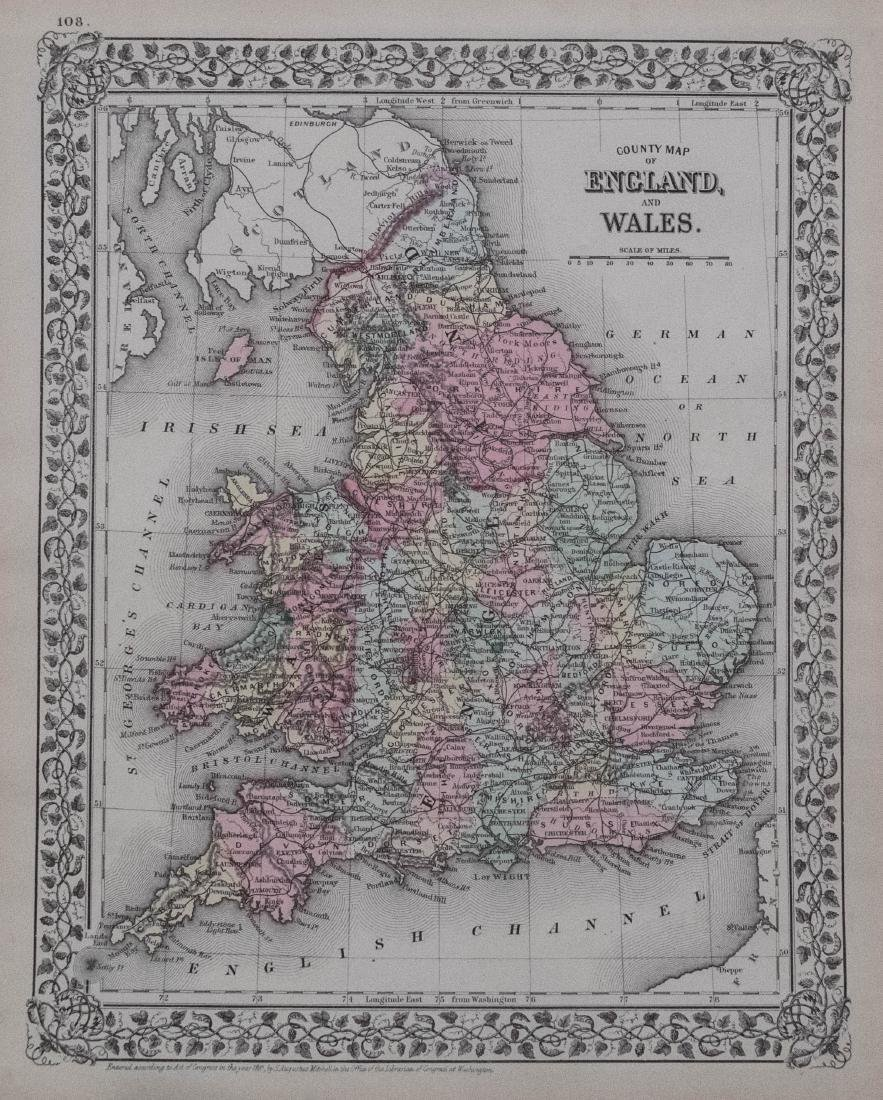 1881 Mitchell Map of England and Wales -- County Map of