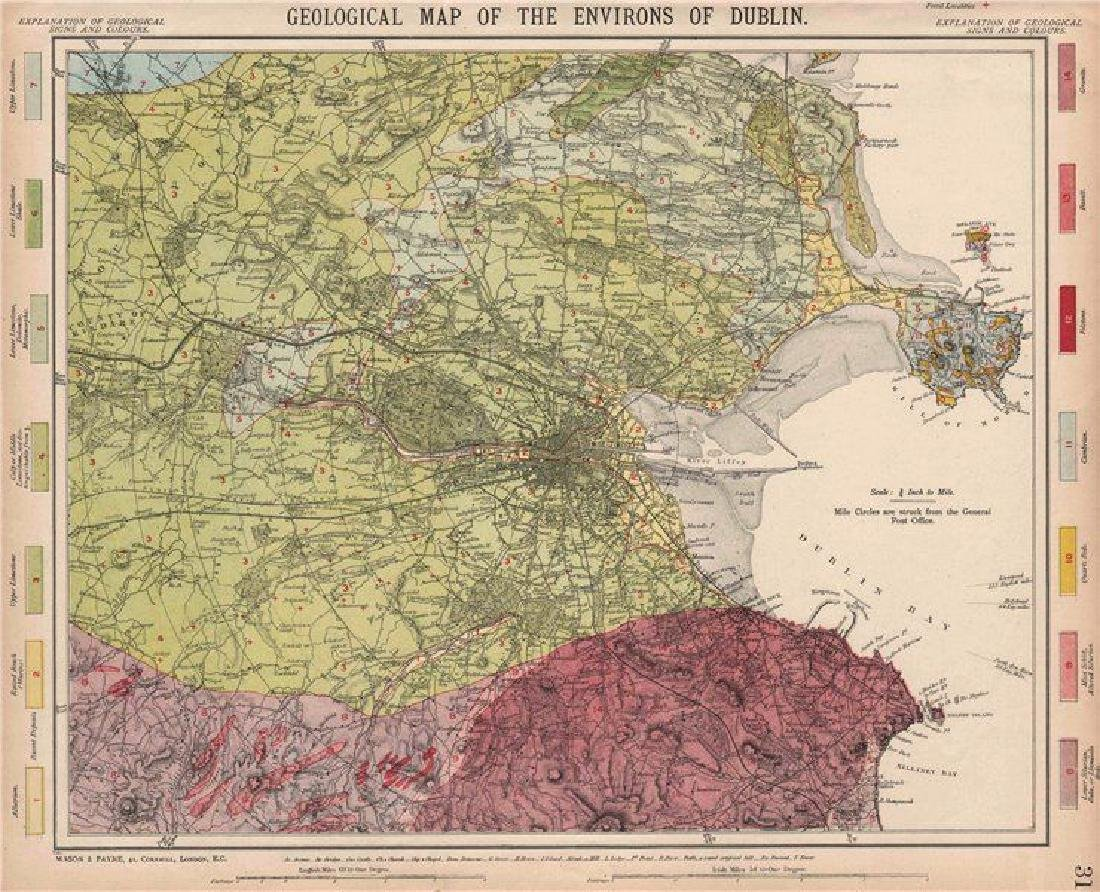 Letts: Antique Geological map of the Environs of Dublin