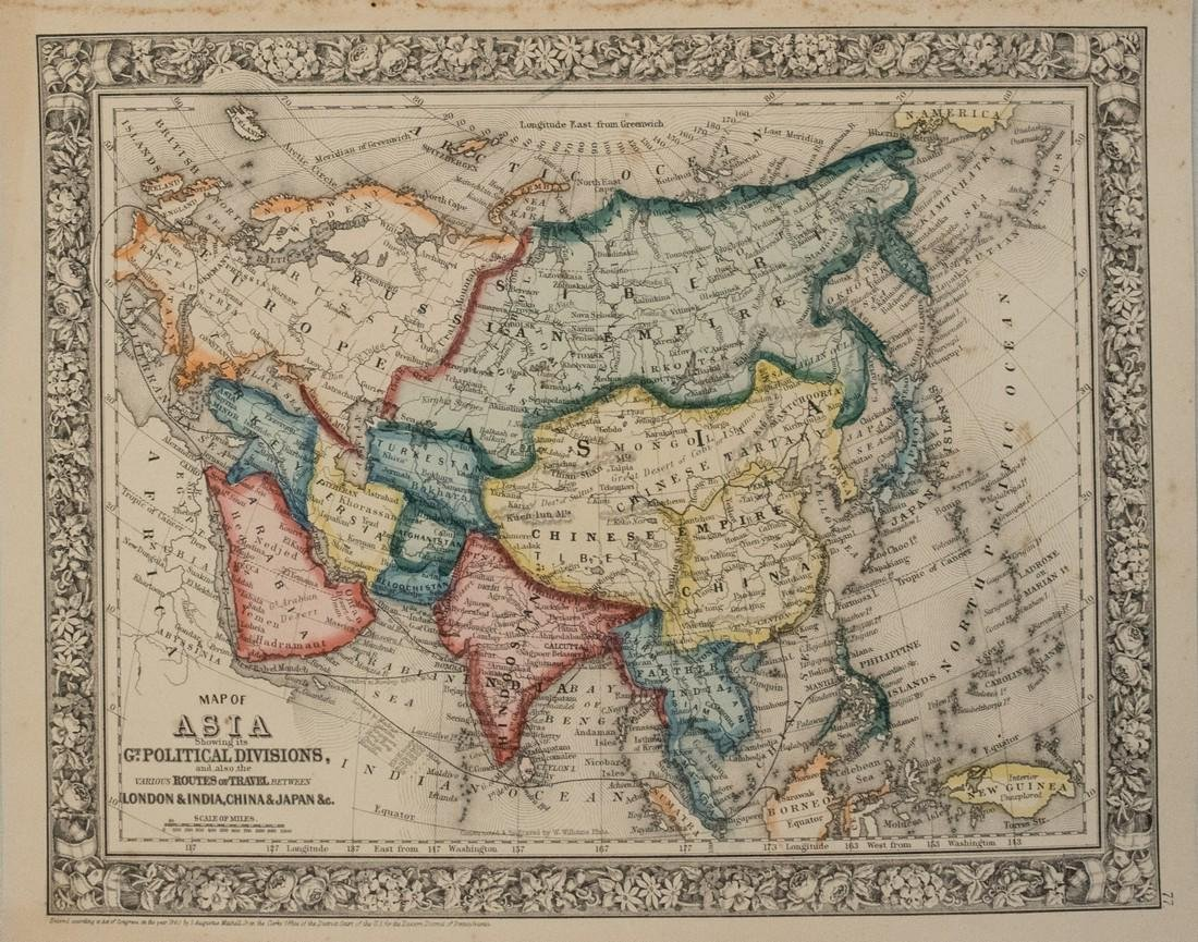 1860 Mitchell Map od Asia -- Map of Asia Showing its