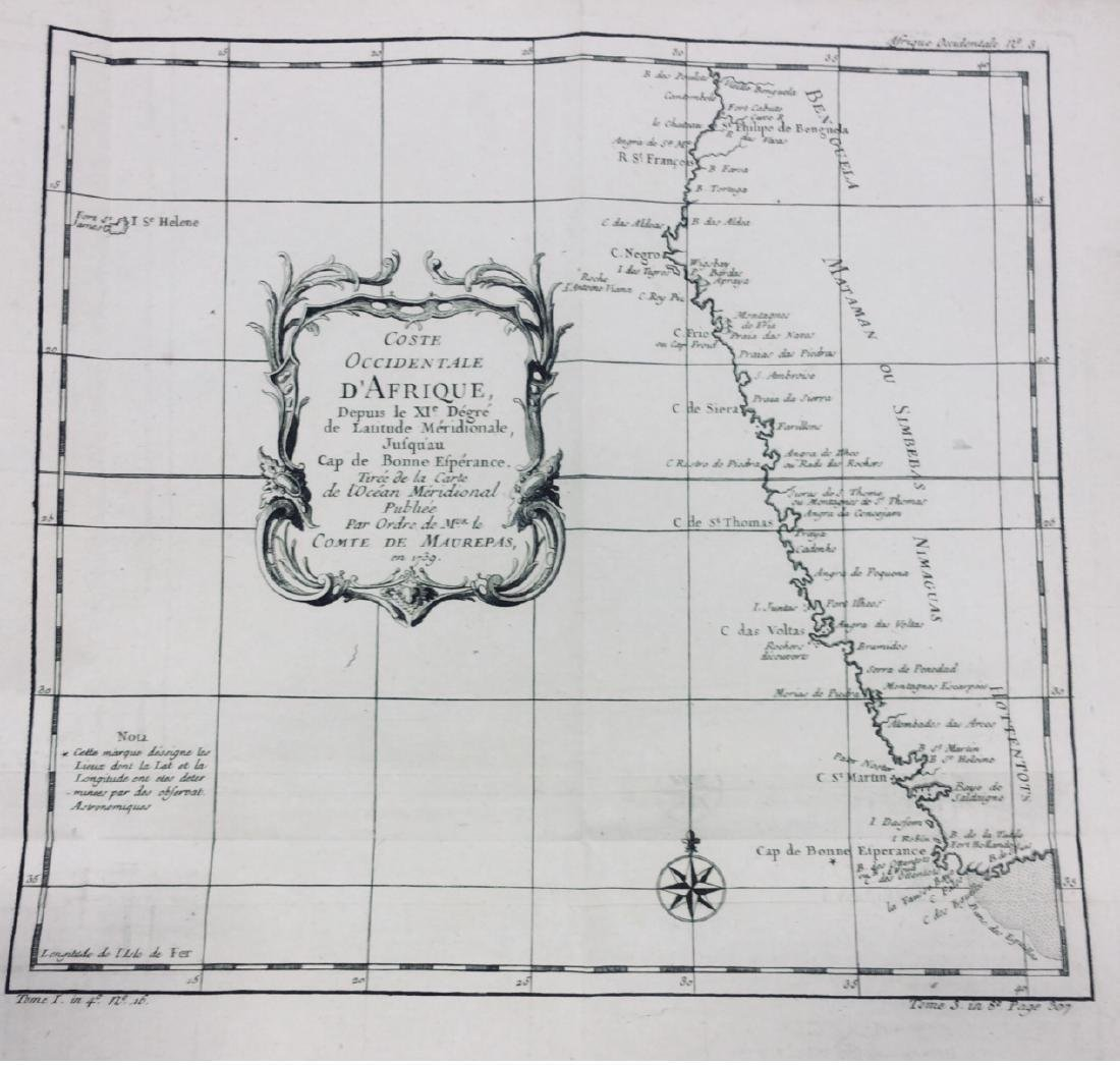 Antiuqe Map of West Coast of Africa by Bellin