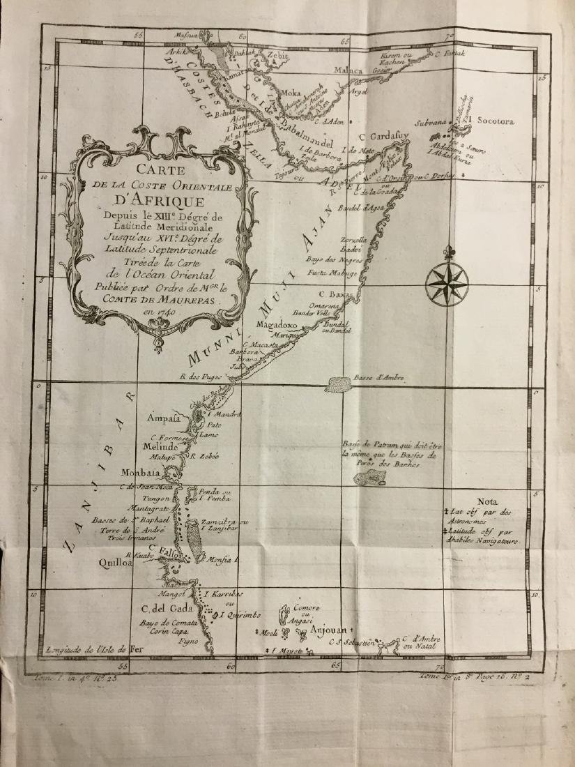 Map of Eastern Coast of Africa Somali Coast by Bellin