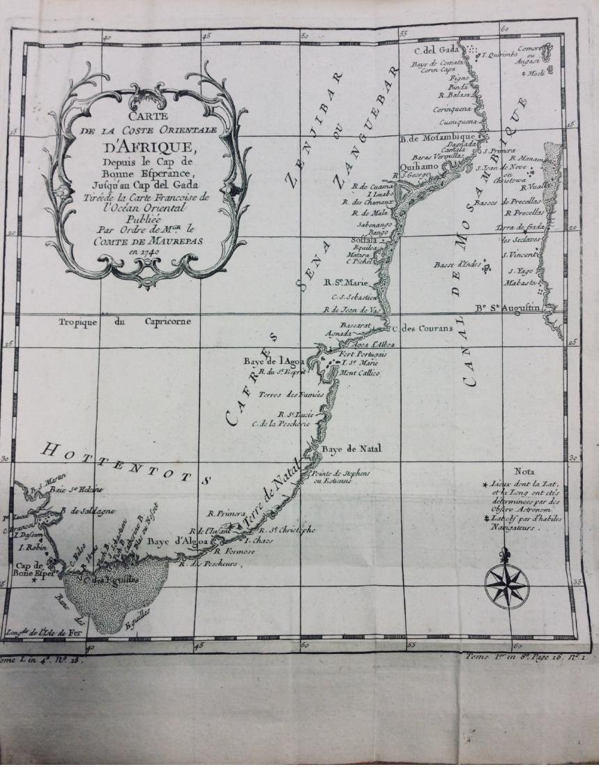 Bellin: Antique Map of Southern Eastern Africa, 1740-70