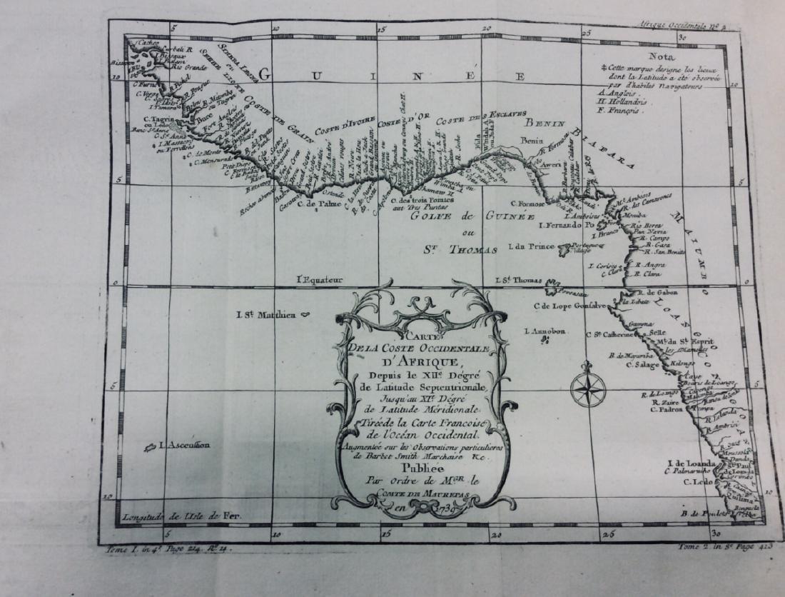 Antiuqe Map of Coastal Western Africa by Bellin