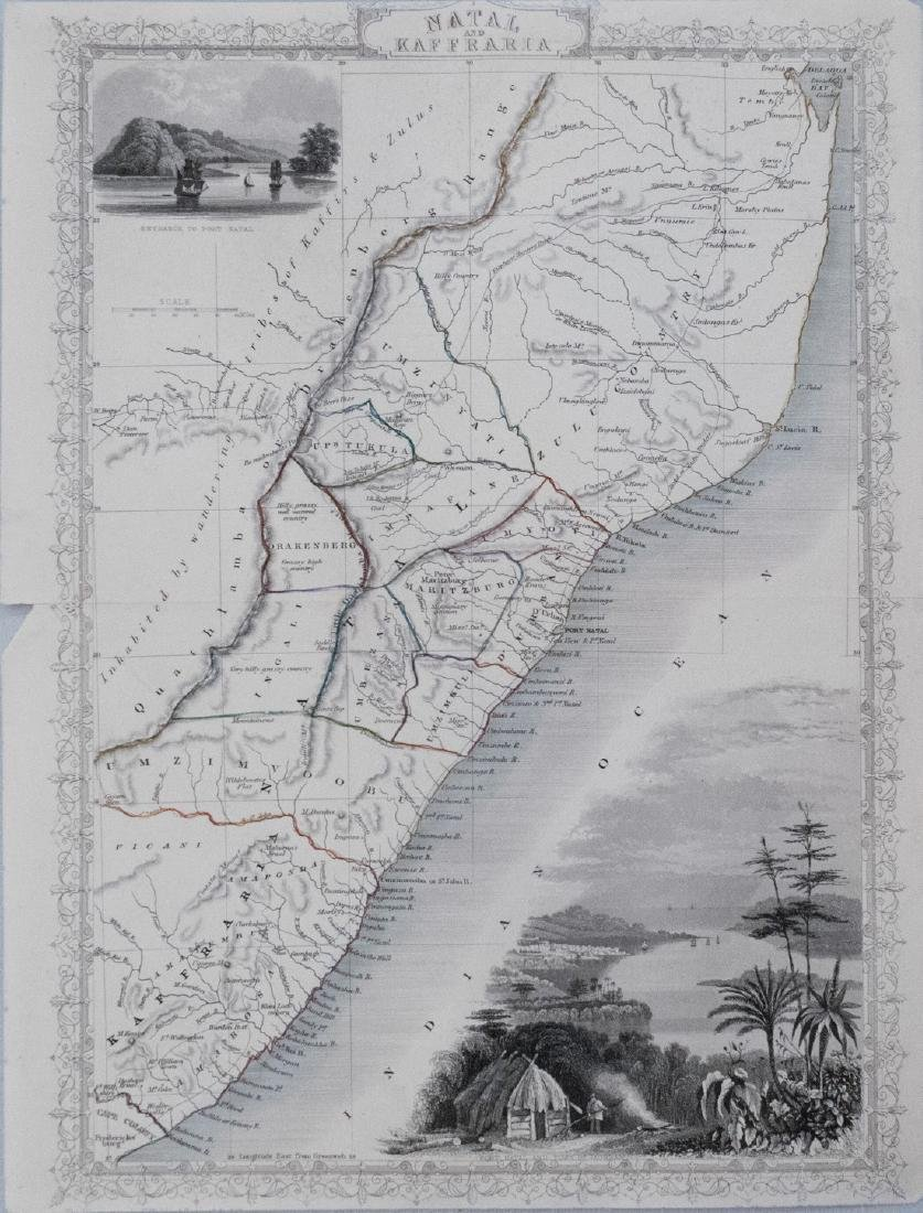 1851 Tallis Map of Natal and Mozambique -- Natal and