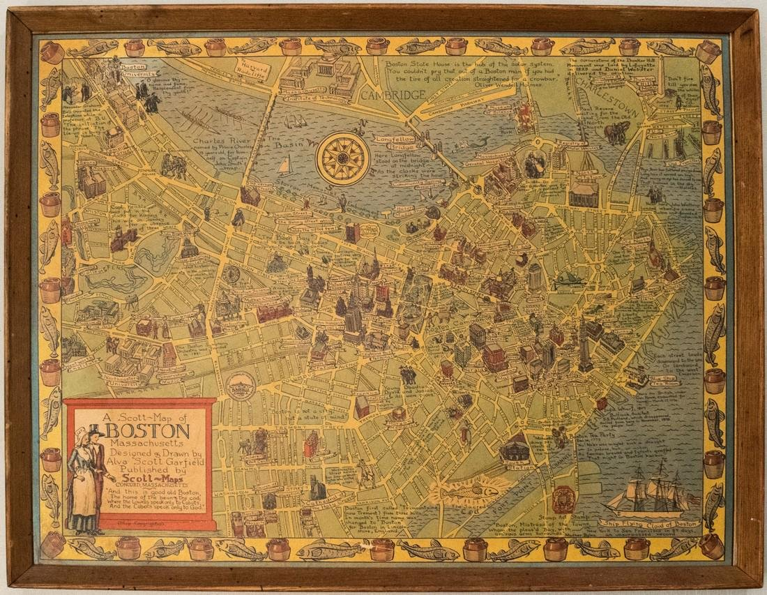 1950s Garfield Pictorial Map of Boston