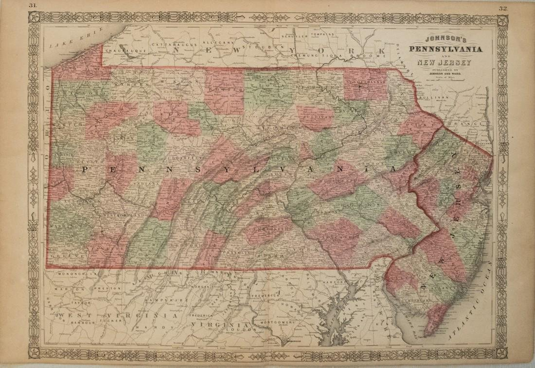 1864 Johnson Map of Pennsylvania and New Jersey