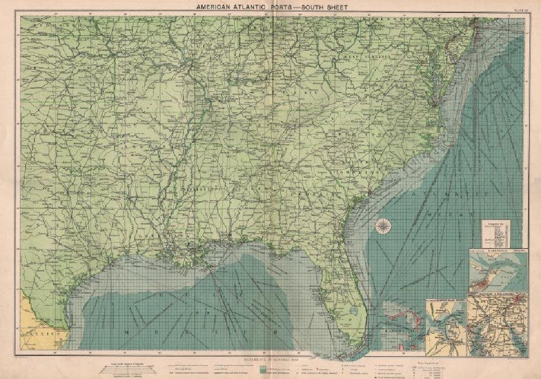 US Atlantic & Gulf Coast Ports sea chart lighthouses