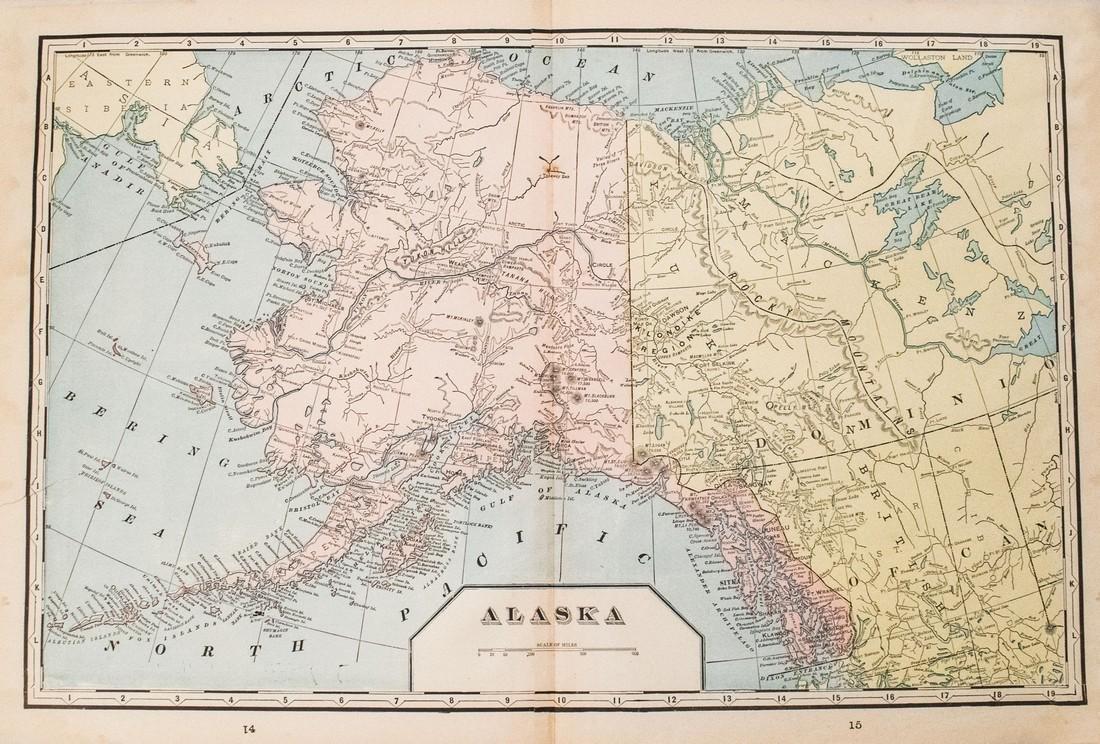 1899 Cram Map of Alaska [verso] Comparison of Rivers