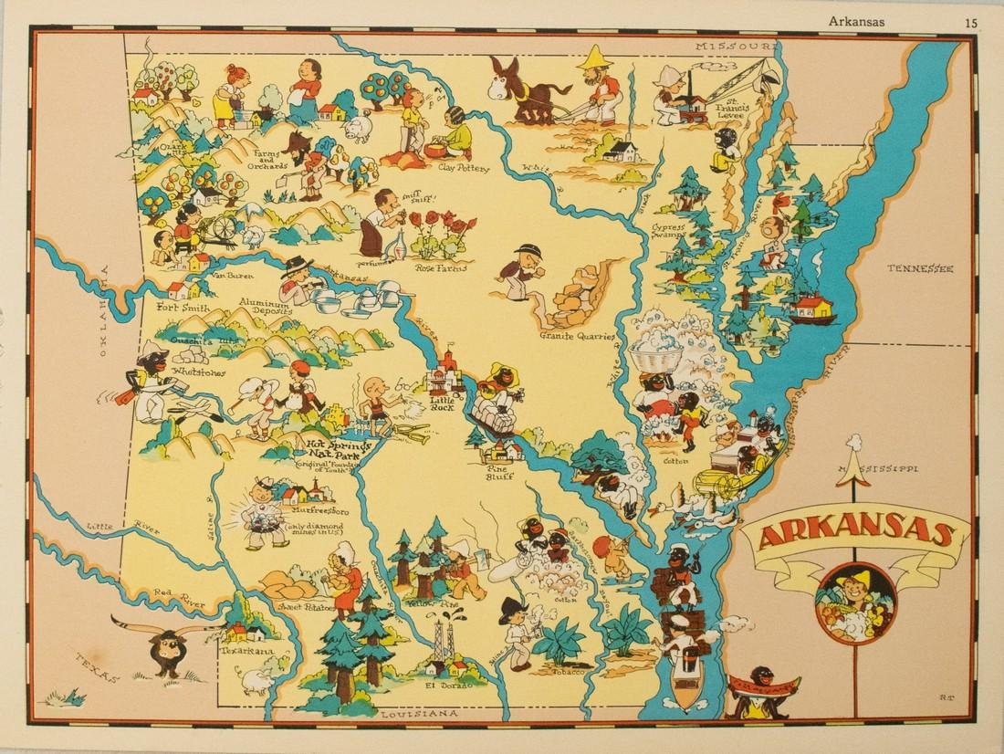 1938 R Taylor White Pictorial Map of Arkansas