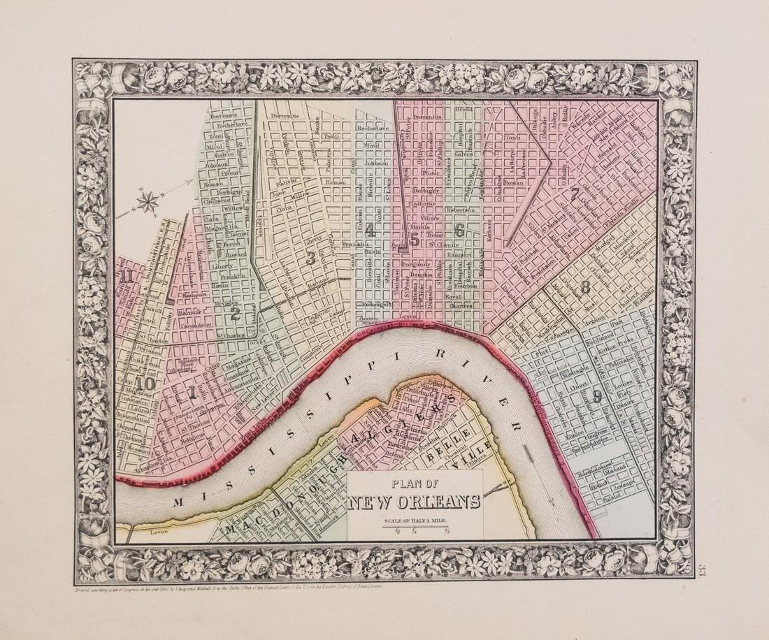1860 Mitchell Map of New Orleans