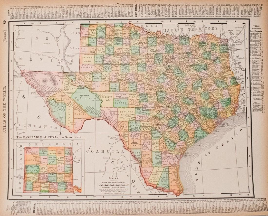 1896 Rand McNally Map of Texas and Indian Territory