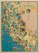 1938 R Taylor White Pictorial Map of California