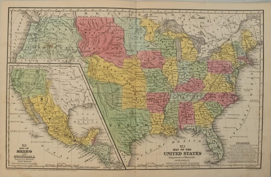 1839 Mitchell Map of the United States