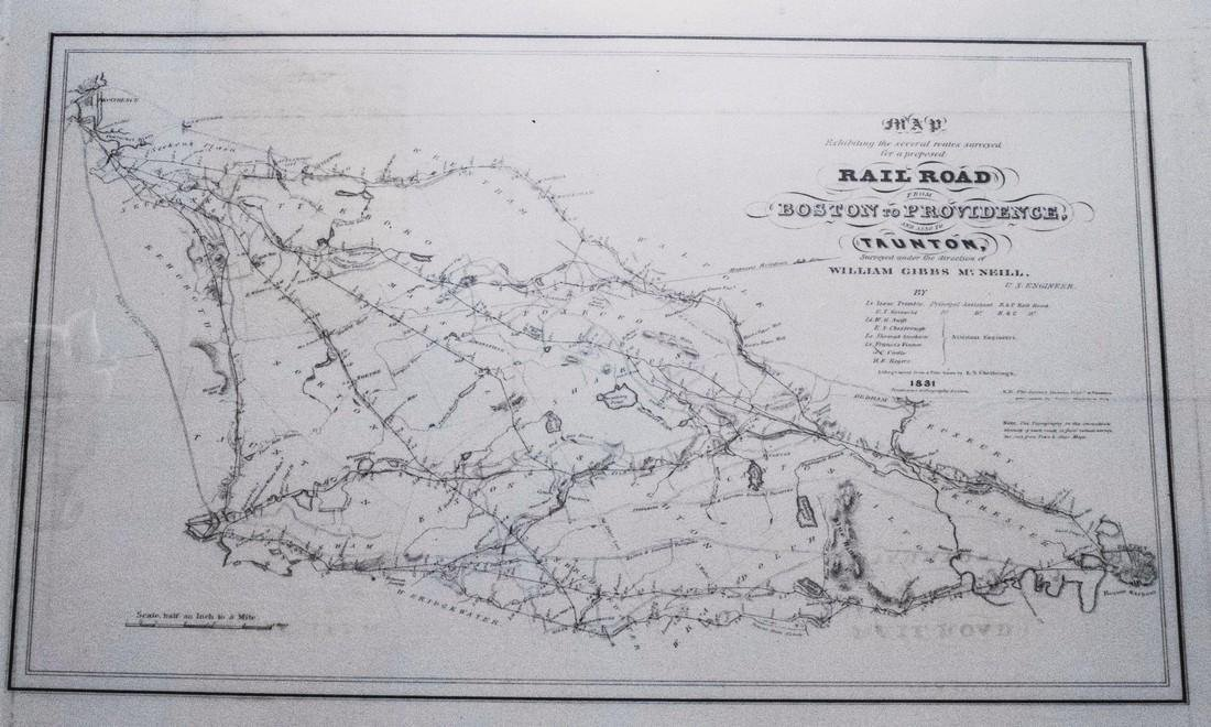 1831 McNeill Map of the Very Early New England Railroad