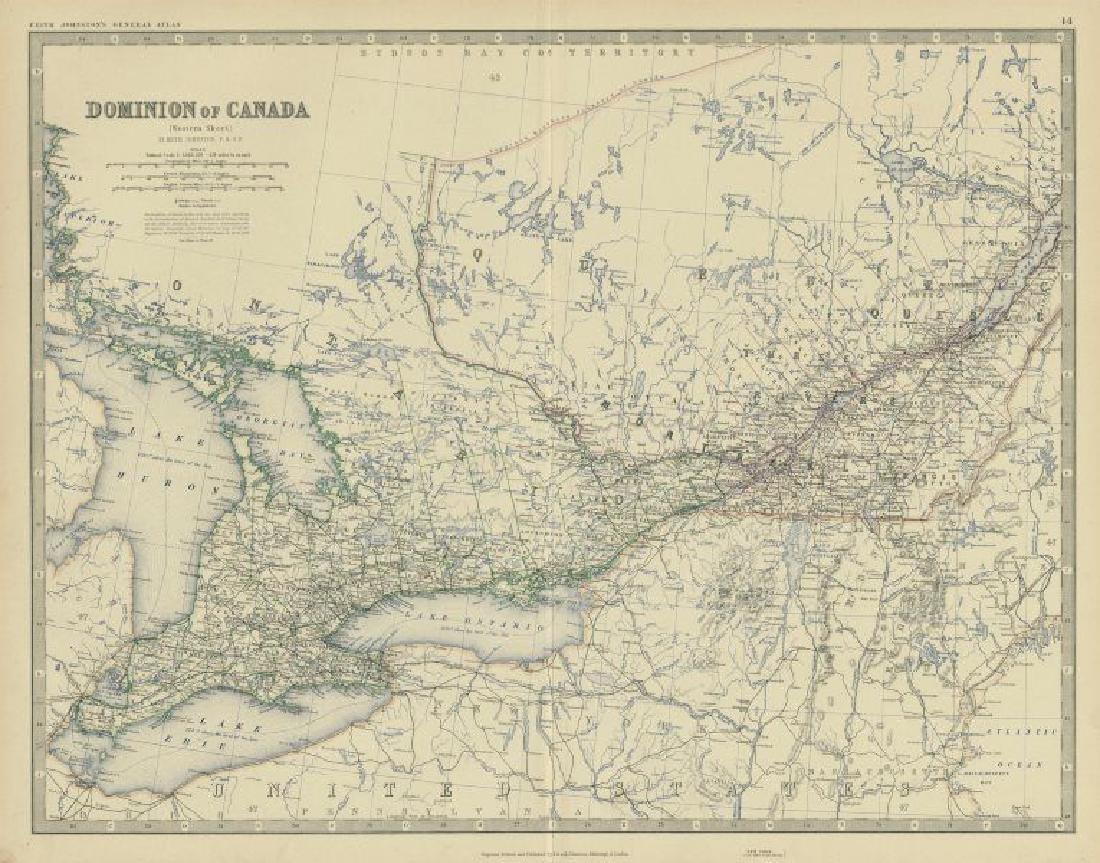 Dominion of Canada (West). Ontario Quebec. 50x60cm.