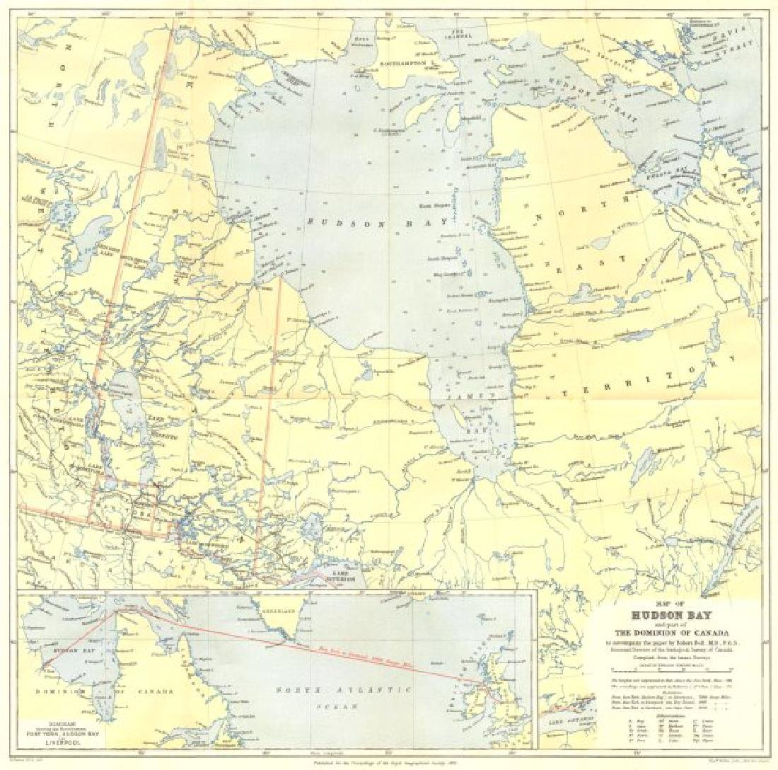 HUDSON BAY: Canada. Route from Fort York to