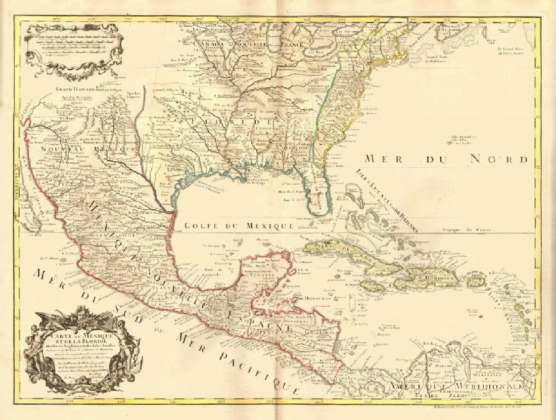 Carte du Mexique et de la Floride'. Colonial North