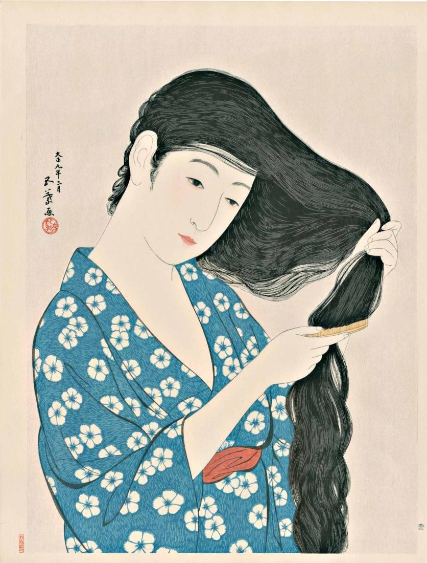 Goyo Hashiguchi Woodblock Combing Her Hair
