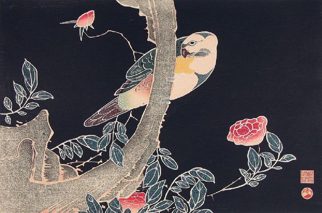 Jakuchu, After Woodblock Parrot and Rose Tree