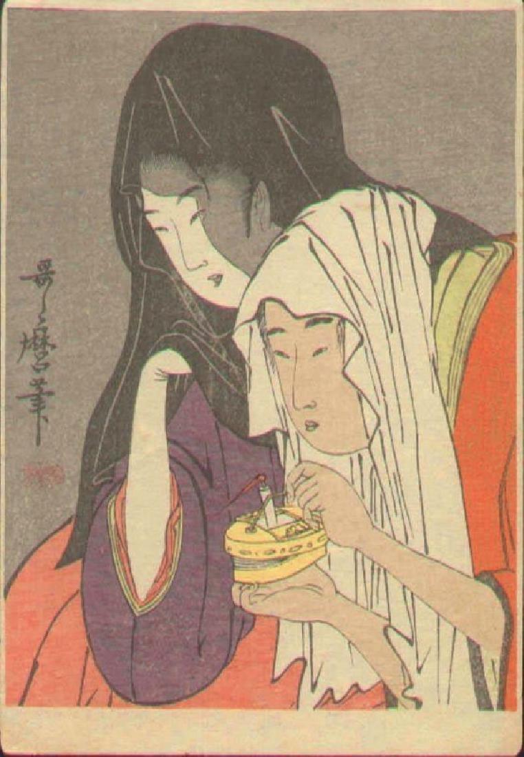 Kitagawa Utamaro Woodblock La Sortie