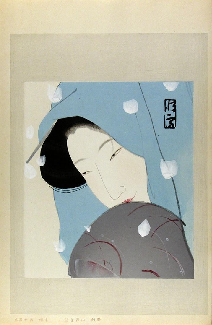 Kitano Tsunetomi Woodblock Woman in Snow