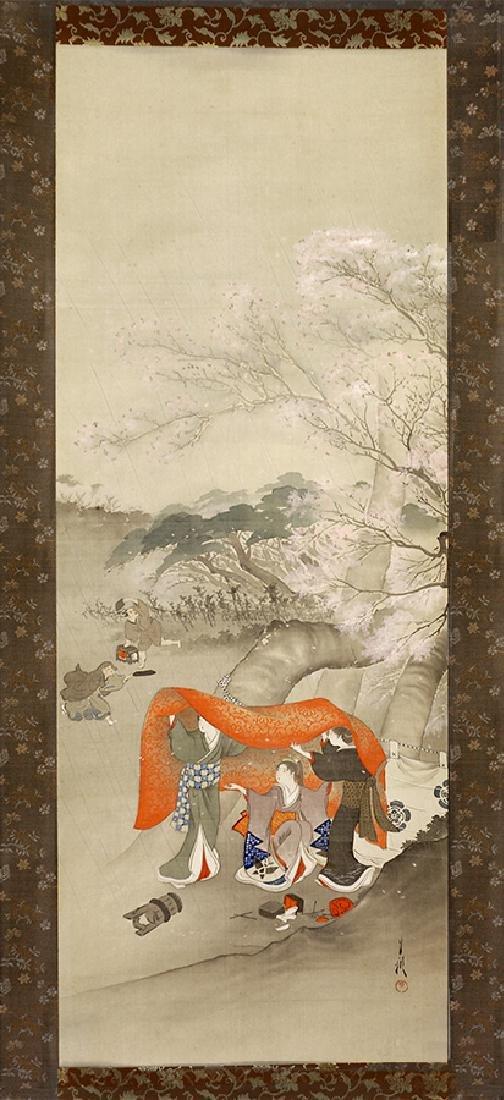 Ogata Gekko Painting on Silk Sudden Rain Shower