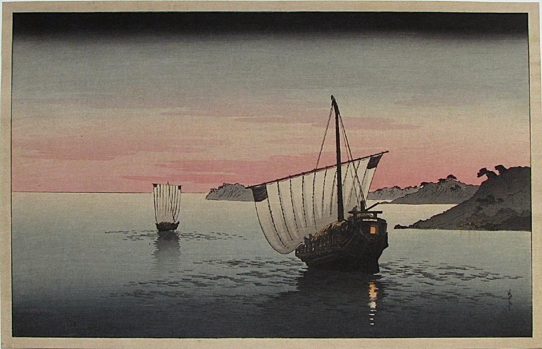 Shoda Koho Woodblock sail boat at night