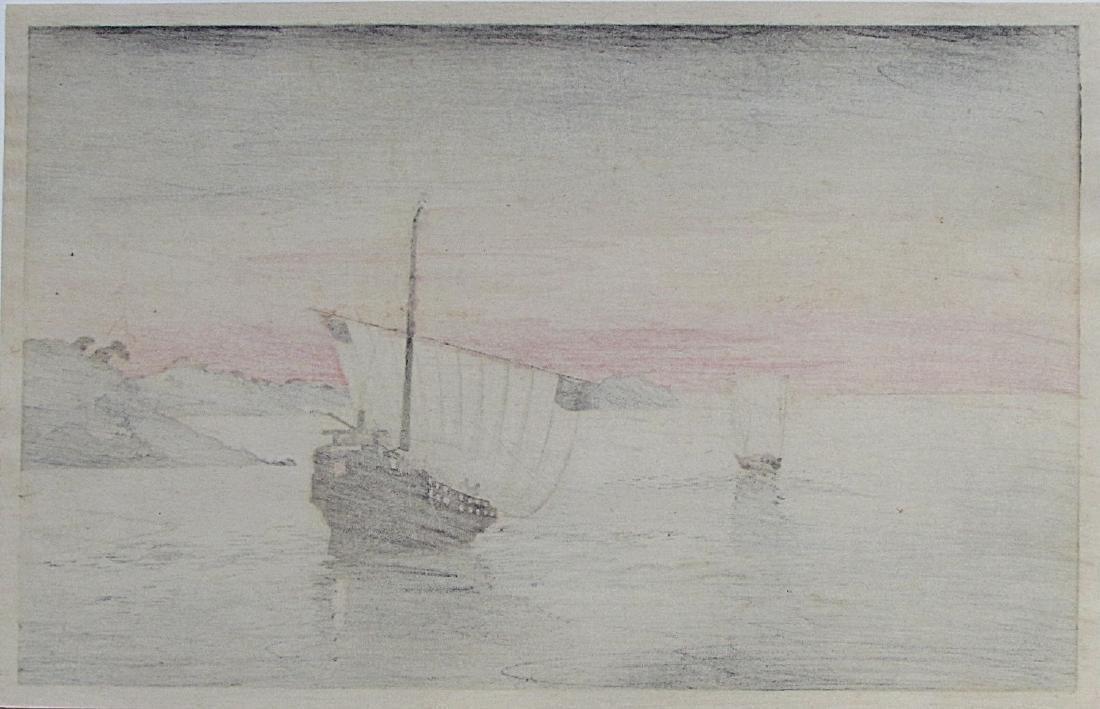 Shoda Koho Woodblock sail boat at night - 2