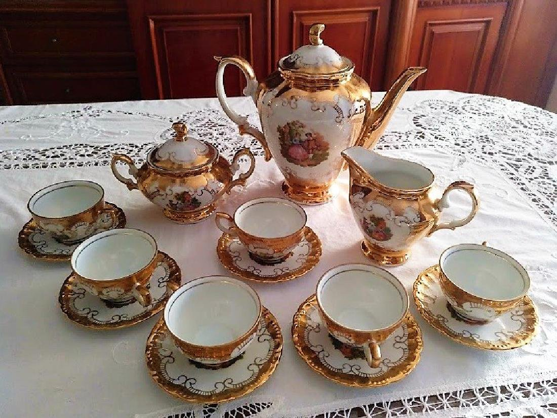 Coffee service 6 people in golden Bavaria porcelain