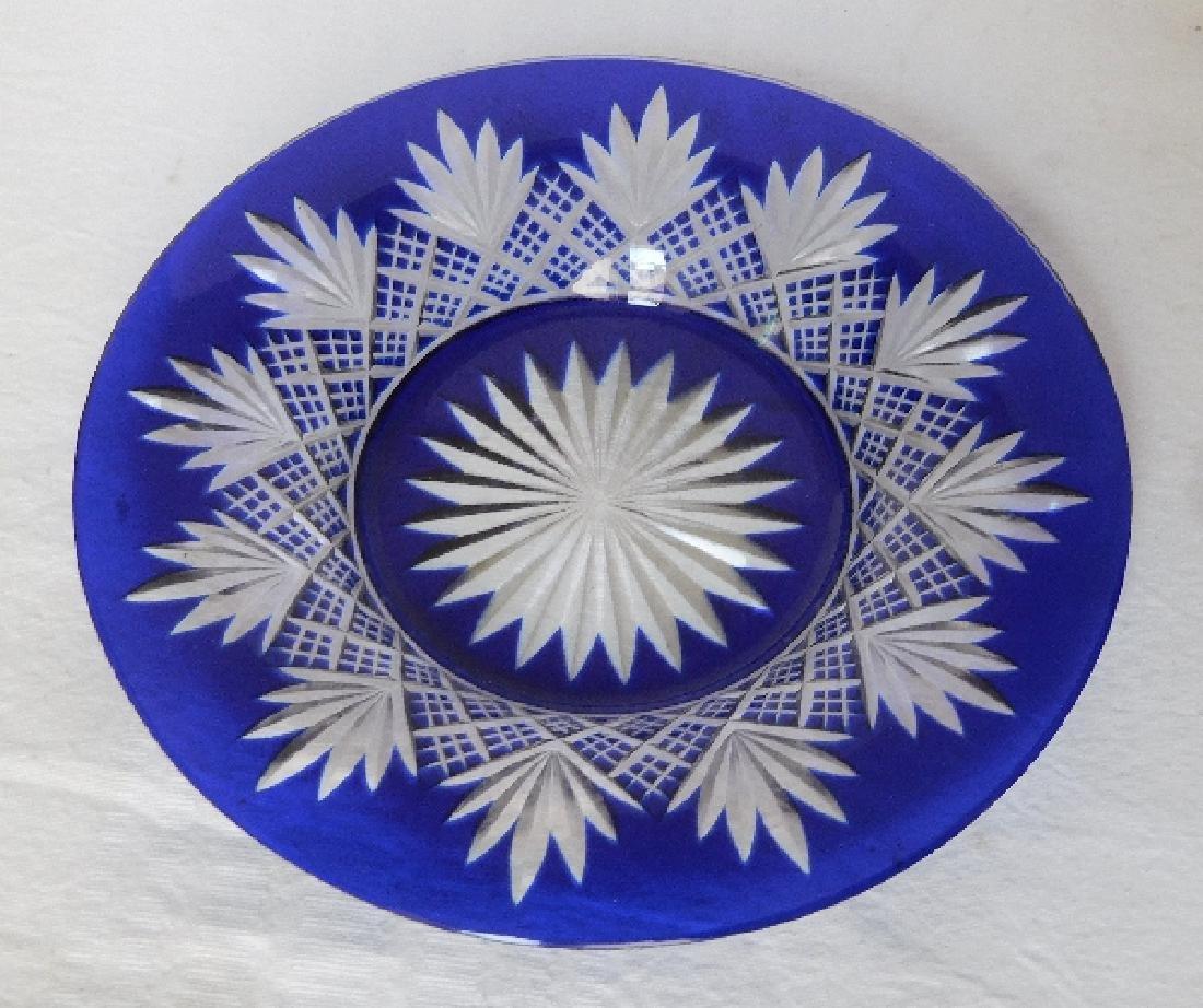 Baccarat crystal plate, cobalt blue overlay crystal