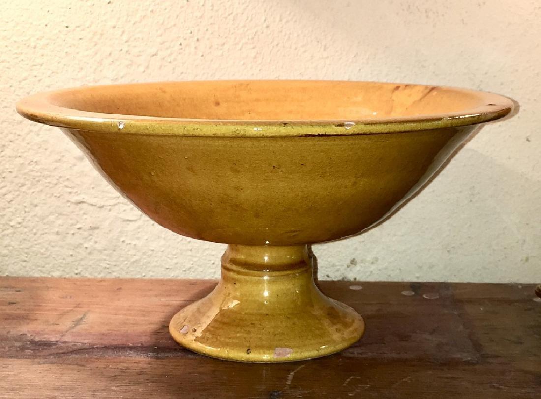 Mustard Yellow Glazed Pedestal Pottery Bowl