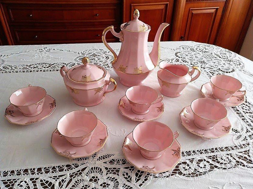 Porcelain rose coffee service 6 people gold filigree