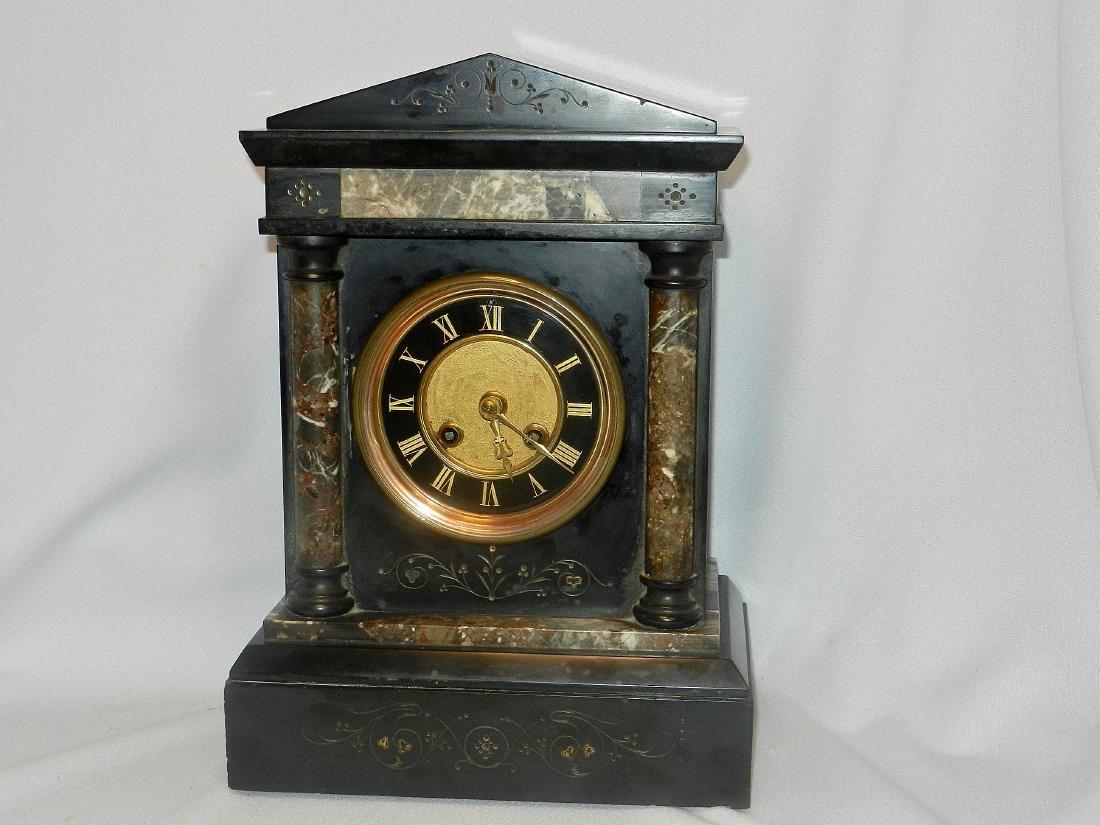 L Marti et cie Medaille De Bronze Marble Mantle Clock