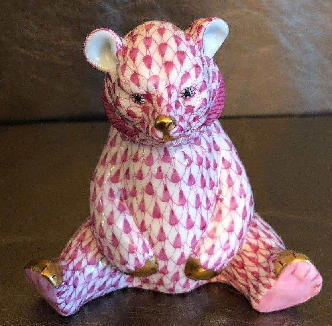 Herend Bear in Pink Fishnet Pattern