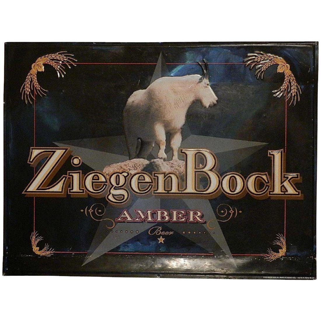 Vintage ZiegenBock Amber Tin Advertising Sign