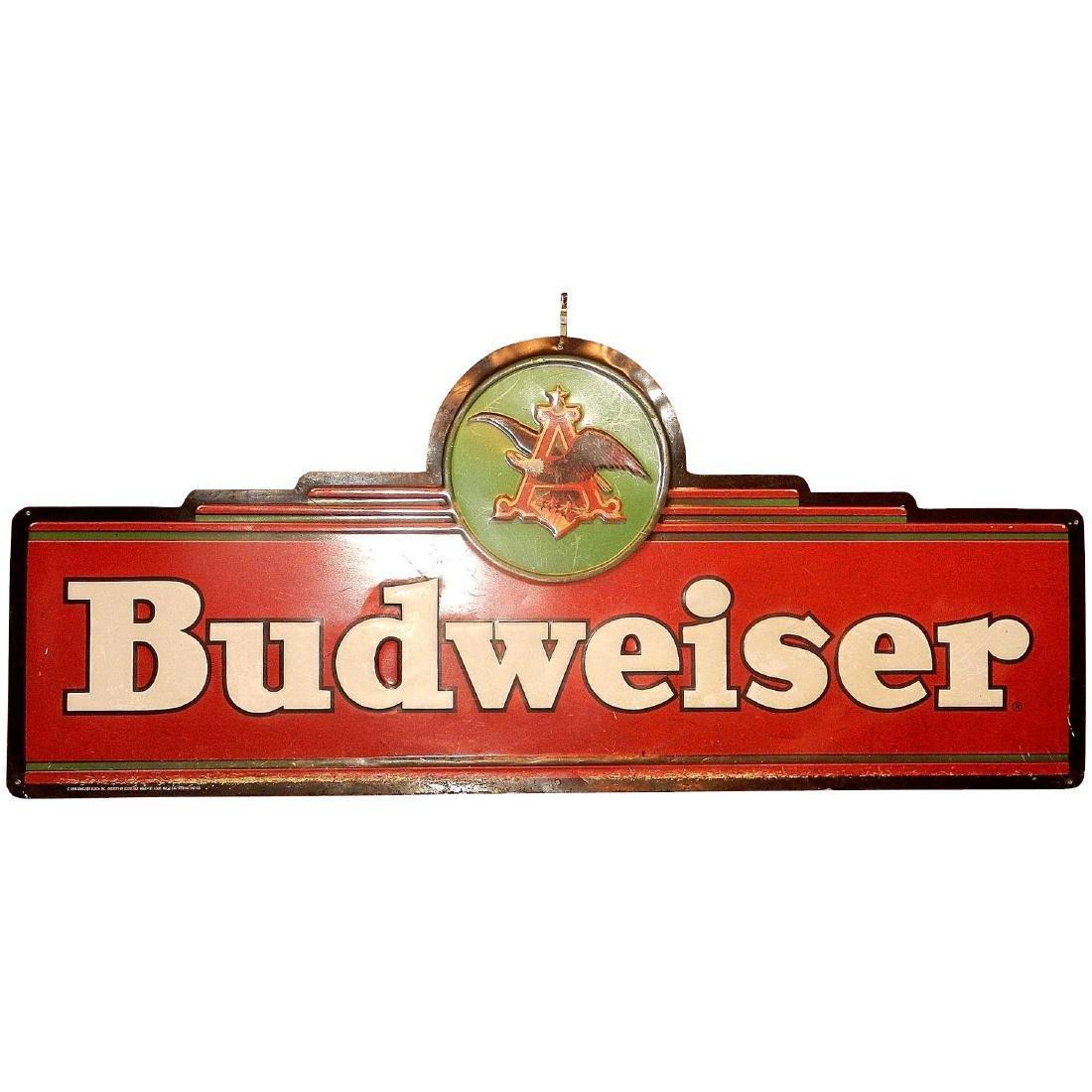 Vintage Large Budweiser Tin Sign.
