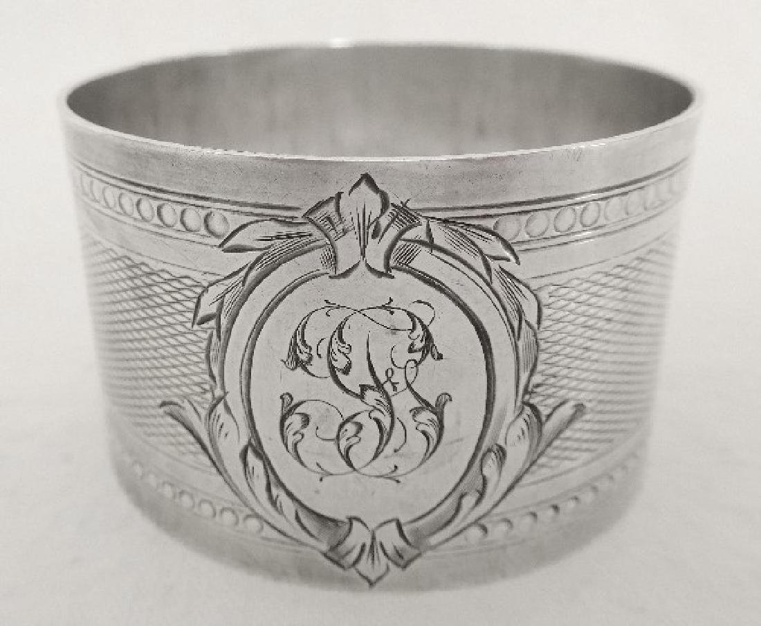 French sterling silver napkin ring, Louis XVI style