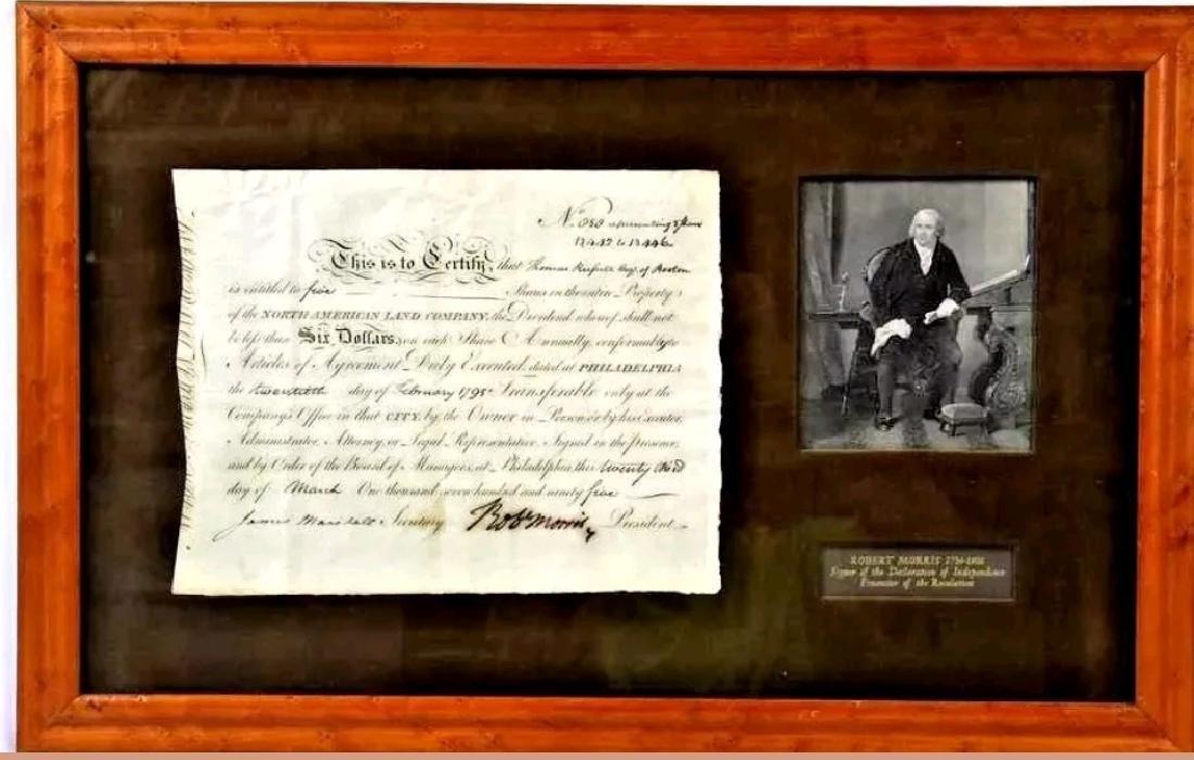 1795 Robert Morris & James Marshall signed certificate
