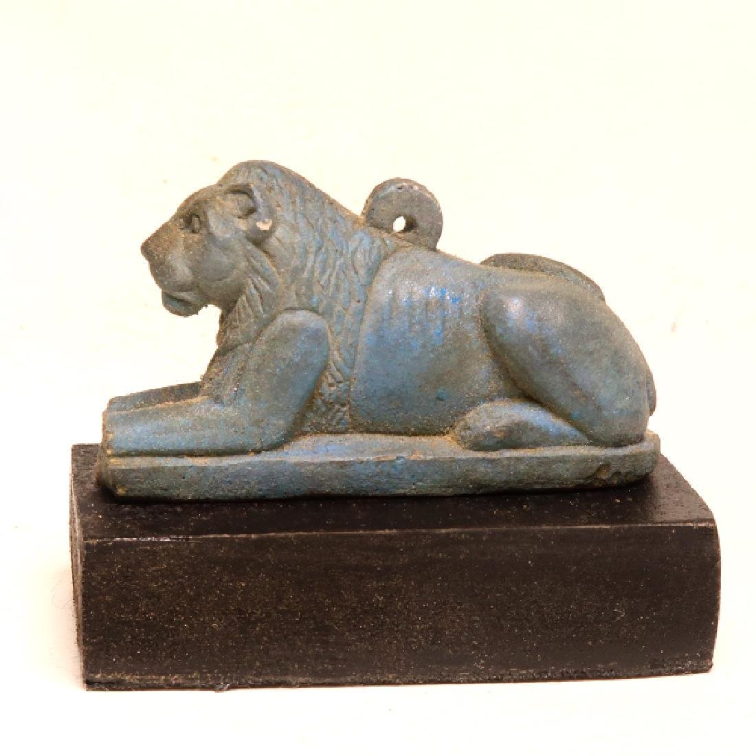 Egyptian Faience Couchant Lion, c. 600 B.C.