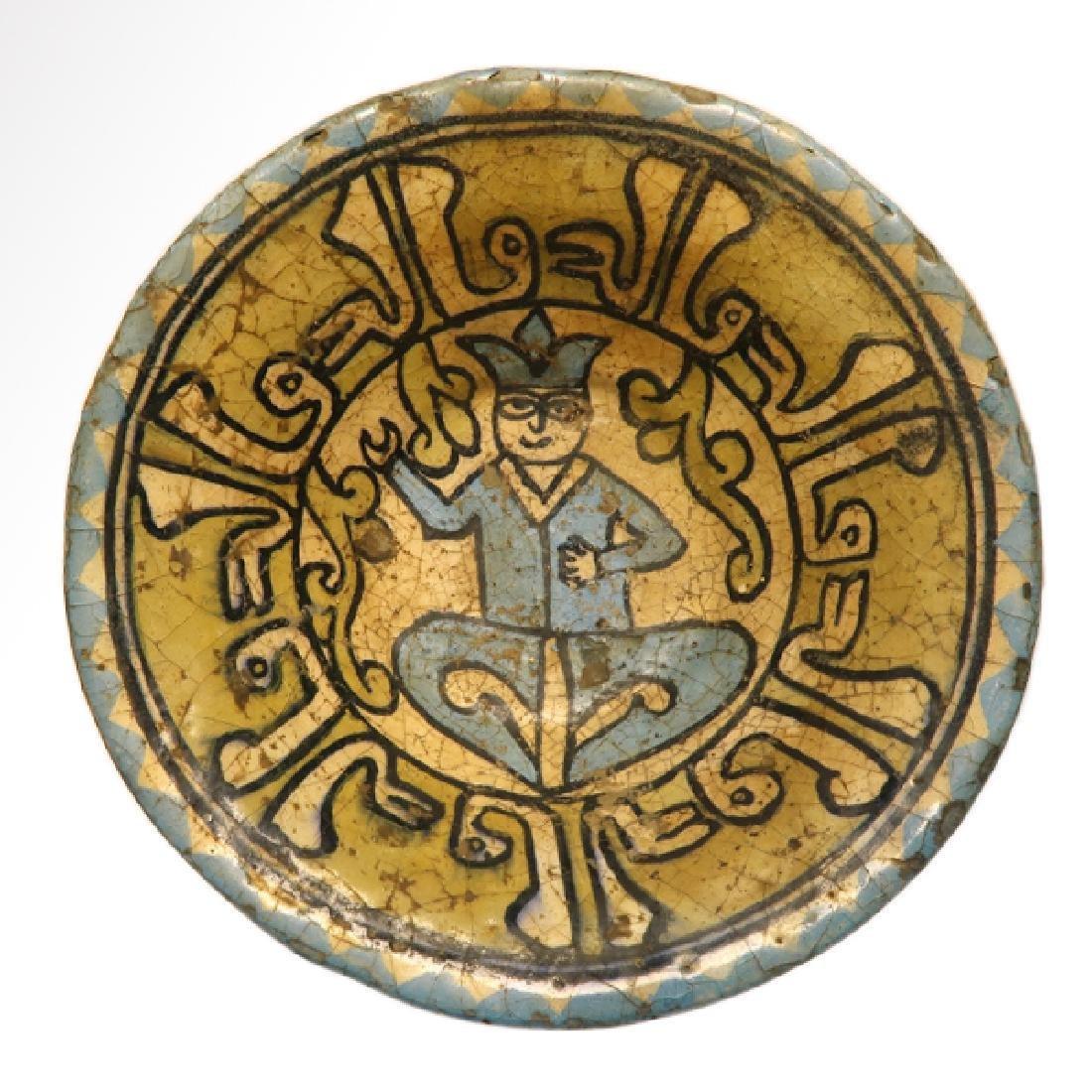 Nishapur Glazed Pottery Bowl Figure Persia 11-12th C