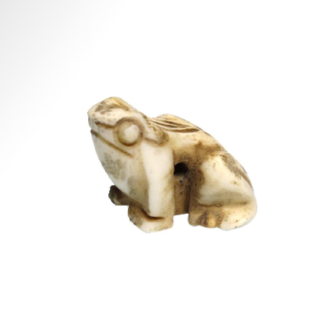 Egyptian White Steatite Frog Amulet 3rd Period 1000 BC