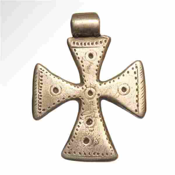 Medieval-Crusader Solid Silver Cross 11-12th Century AD