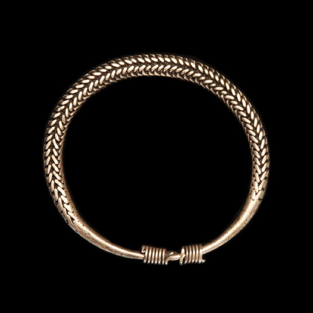 Medieval Viking Silver Bracelet, 8 cm. D. Flexible