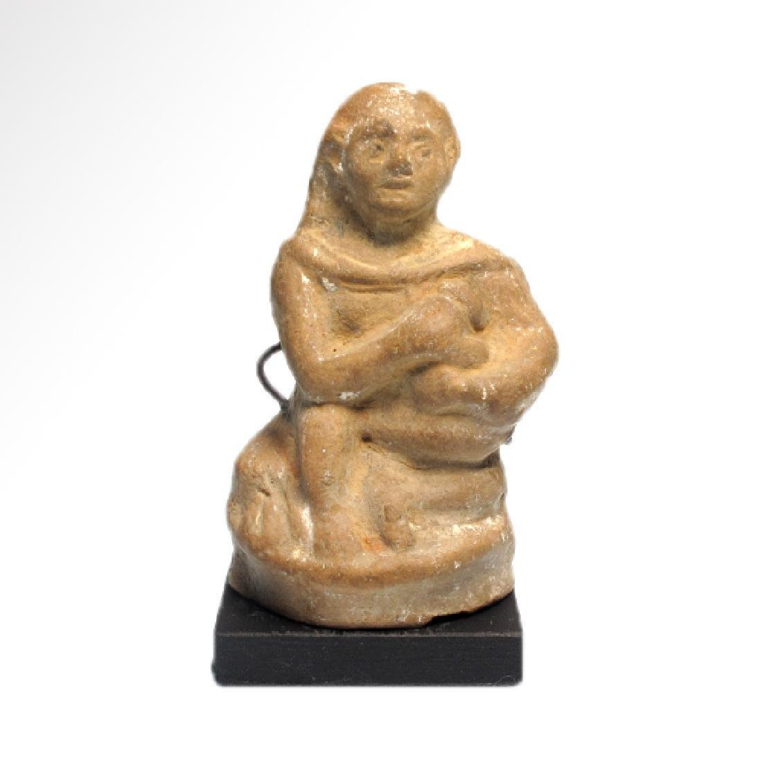 Egyptian Alexandrian Terracotta Figure of Seated Child