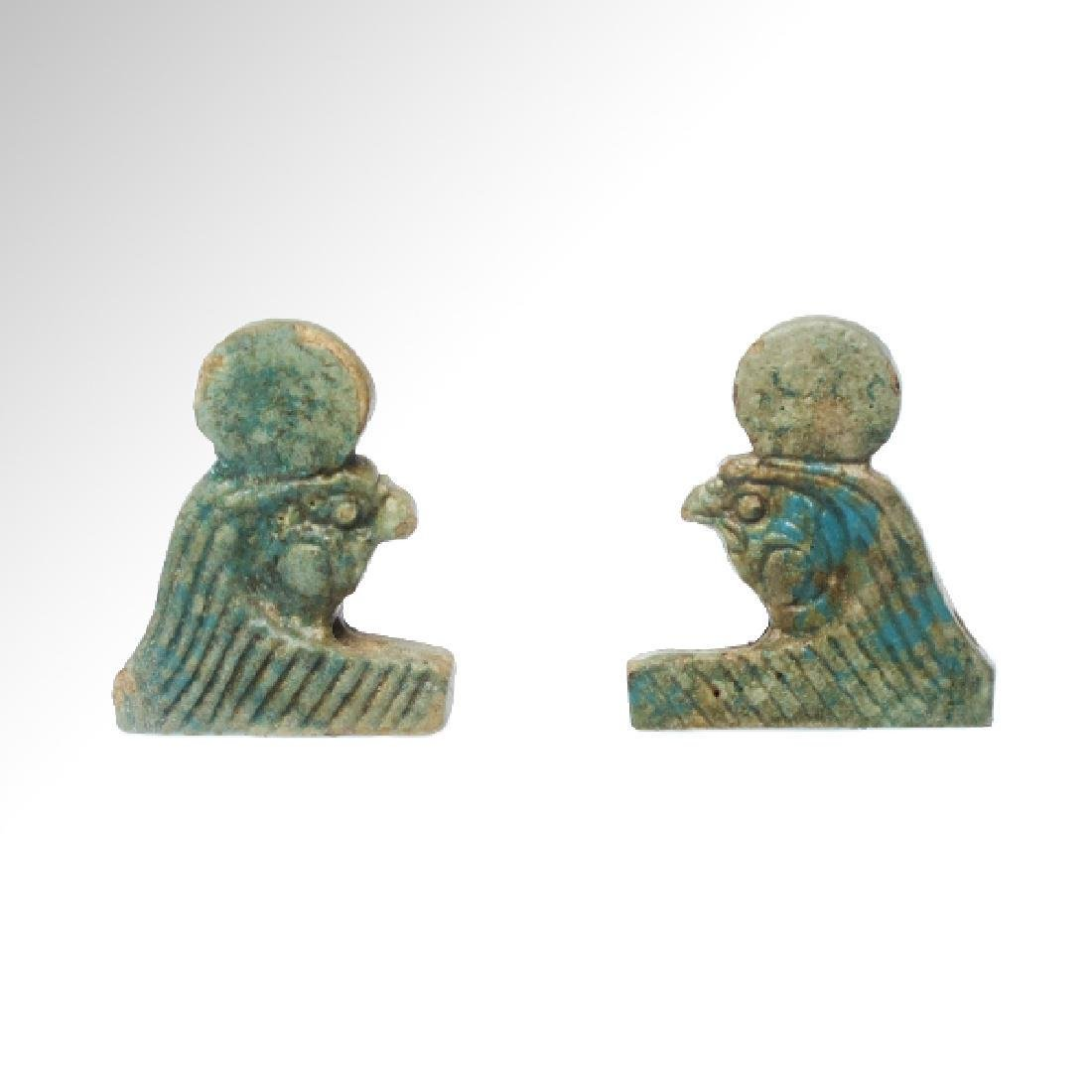 2 Egyptian Faience Necklace Falcon Horus 600 BC