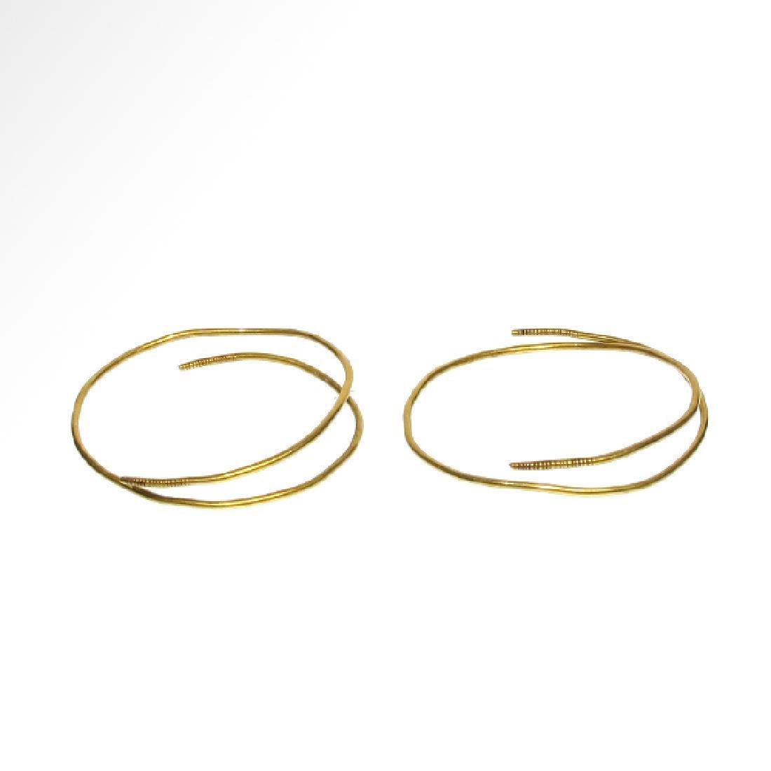 Viking pair of Gold Hoop Earrings 9th-10th Century A.D.