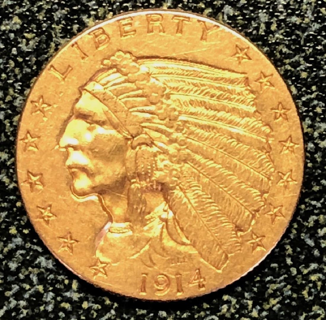 1914 Gold Quarter Eagle $2 1/2 Indian Head Luster