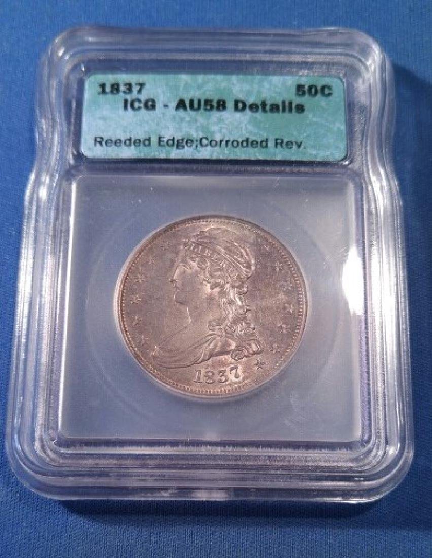 1837 U.S. 50 Cent Reeded Edge
