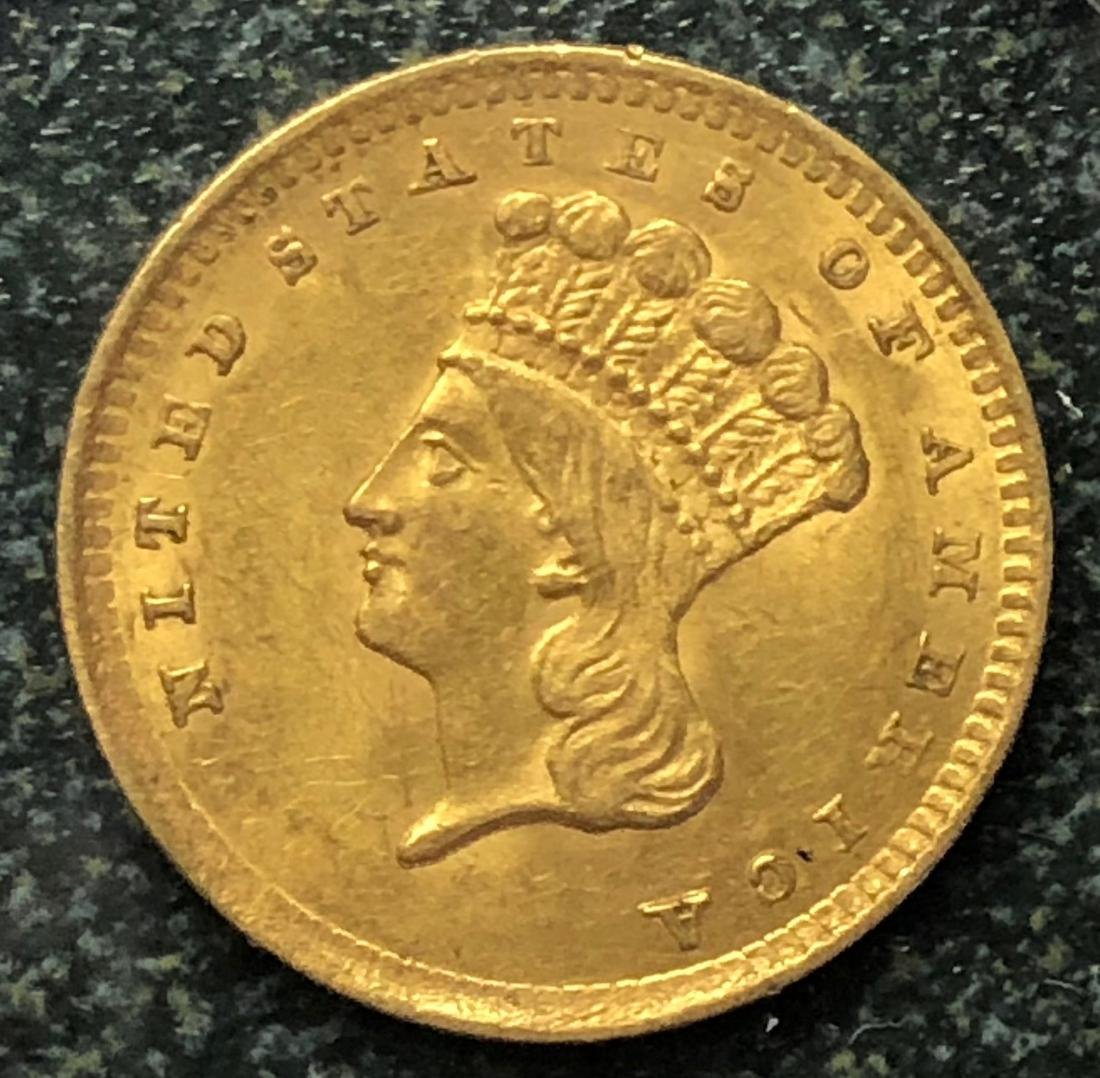 1856 $1 Gold Indian Princess: Beautiful Color & Detail