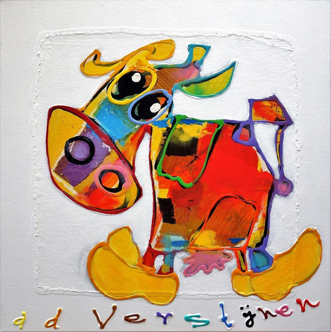 Cow in color on clogs Ad Verstijnen Original painting